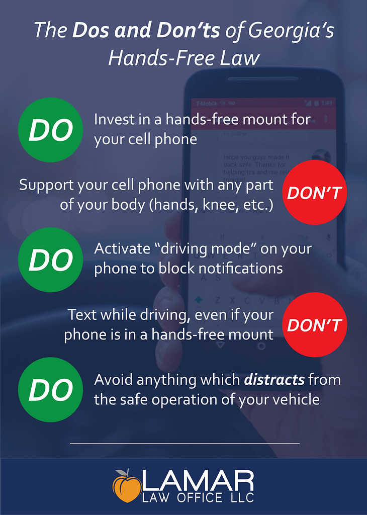 """Graphic showing """"dos and don'ts"""" of Georgia's hands free law"""