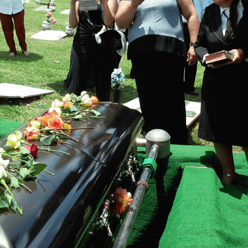 wrongful death page photo with casket